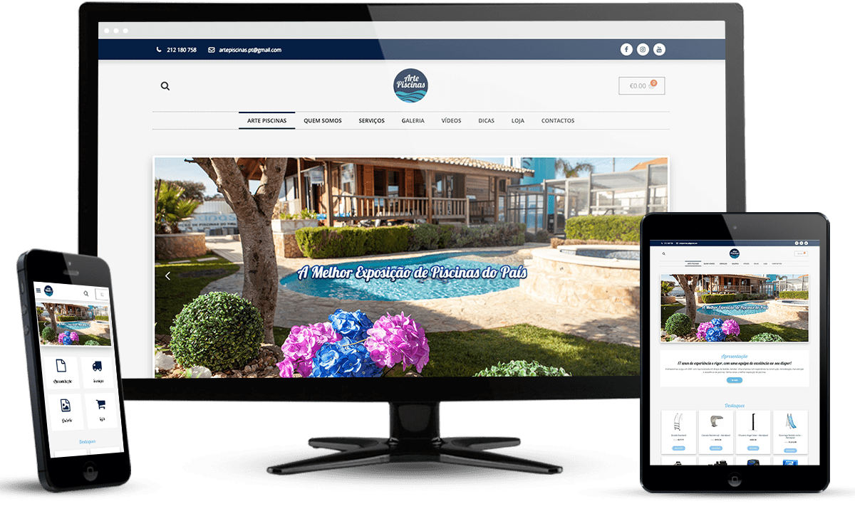 website ecommerce Arte Piscinas